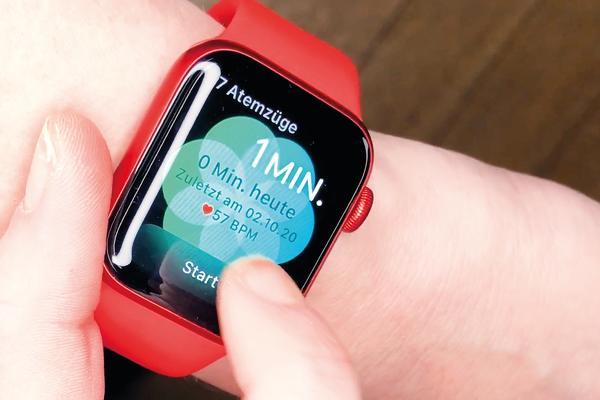 Apple Watch 6 muestra la aplicación de respiración