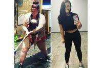 Imagen sobre el tema de la mujer en ropa deportiva antes y después de su éxito en la pérdida de peso.