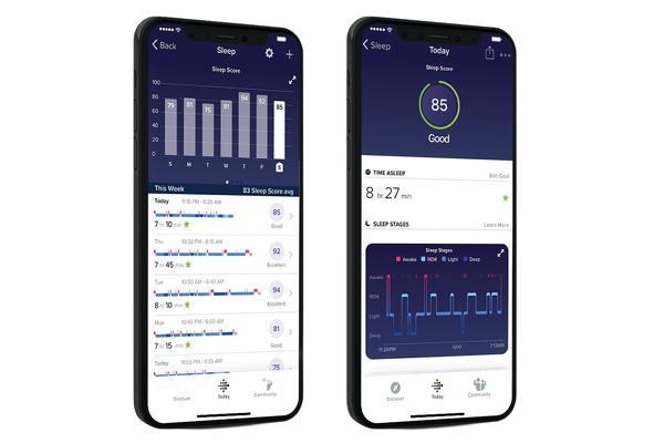 Seguimiento del sueño en la aplicación de Fitbit