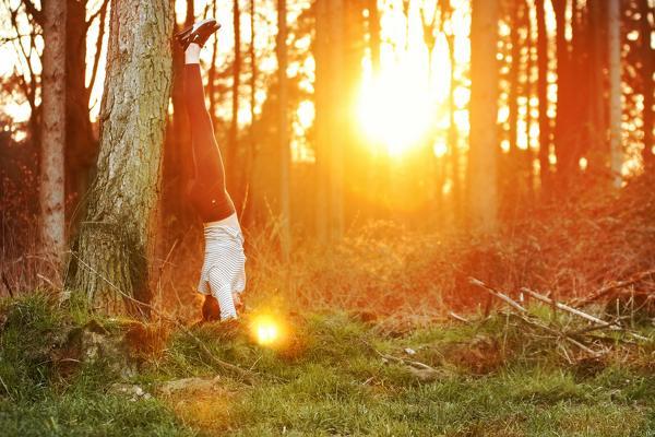 Mujer haciendo pino en el árbol