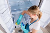 Imagen sobre el tema de una mujer limpiando el refrigerador.